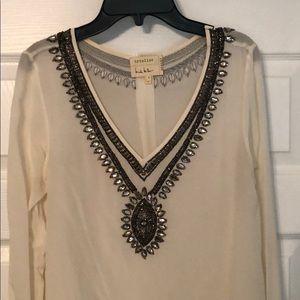 Sheer hand beaded blouse